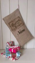 Personalized Compliments Of The Season Father Christmas Xmas Santa Sack / Stocking Bag Jute Hessian